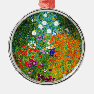 "Gustav Klimt, ""Farmhouse garden"" Metal Ornament"