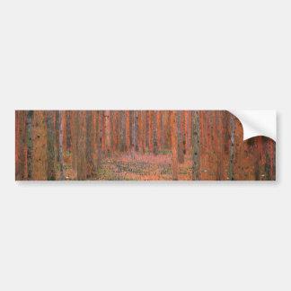 Gustav Klimt Fir Forest Tannenwald Red Trees Bumper Stickers