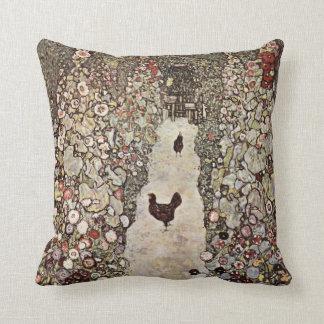 Gustav Klimt Garden With Roosters Cushion