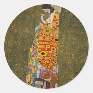 Gustav Klimt - Hope II - Beautiful Artwork Classic Round Sticker