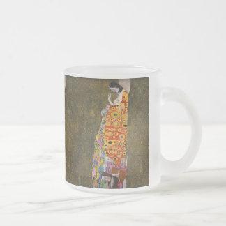 "Gustav Klimt, ""Hope II"" Frosted Glass Coffee Mug"