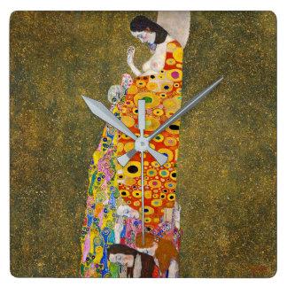 "Gustav Klimt, ""Hope, II"" Square Wall Clock"