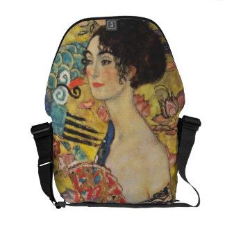 Gustav Klimt Lady With Fan Art Nouveau Painting Messenger Bags
