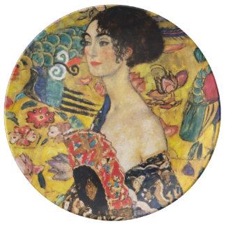 Gustav Klimt Lady With Fan Art Nouveau Painting Plate