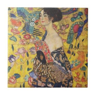 Gustav Klimt Lady With Fan Art Nouveau Painting Small Square Tile