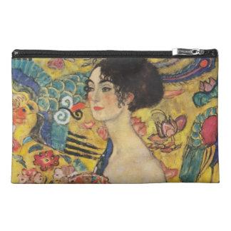 Gustav Klimt Lady With Fan Art Nouveau Painting Travel Accessories Bag