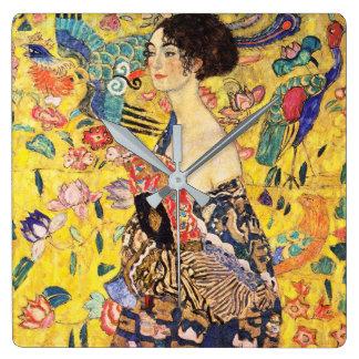 """Gustav Klimt """"Lady with fan"""" Clock"""