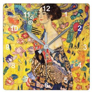 "Gustav Klimt ""Lady with fan"" Square Wall Clock"
