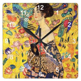 """Gustav Klimt """"Lady with fan"""" Wall Clock"""