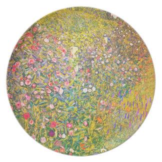 Gustav Klimt Pink Flowers Plate