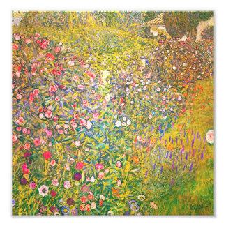 Gustav Klimt Pink Flowers Print Photo Art