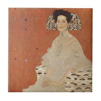 GUSTAV KLIMT - Portrait of Fritza Riedler 1906 Small Square Tile