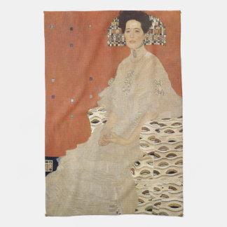 GUSTAV KLIMT - Portrait of Fritza Riedler 1906 Tea Towel