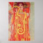 Gustav Klimt Red Woman Gold Snake Painting Poster