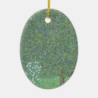 Gustav Klimt - Rosebushes under the Trees Artwork Ceramic Ornament