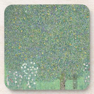 Gustav Klimt - Rosebushes under the Trees Artwork Coaster