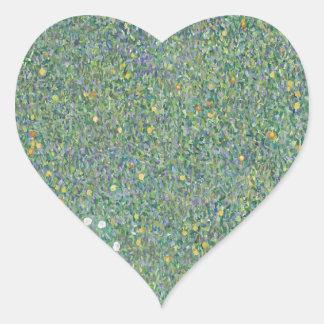 Gustav Klimt - Rosebushes under the Trees Artwork Heart Sticker