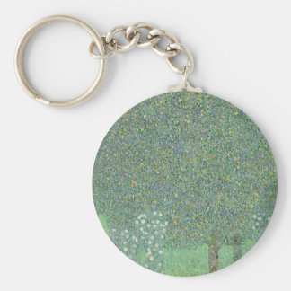 Gustav Klimt - Rosebushes under the Trees Artwork Key Ring