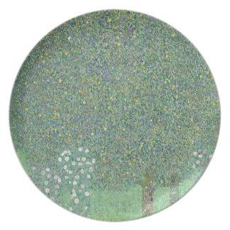 Gustav Klimt - Rosebushes under the Trees Artwork Plate