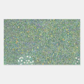 Gustav Klimt - Rosebushes under the Trees Artwork Rectangular Sticker
