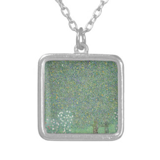 Gustav Klimt - Rosebushes under the Trees Artwork Silver Plated Necklace