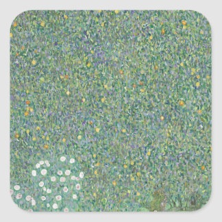 Gustav Klimt - Rosebushes under the Trees Artwork Square Sticker