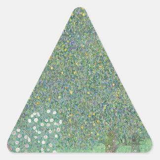 Gustav Klimt - Rosebushes under the Trees Artwork Triangle Sticker
