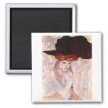 Gustav Klimt ~ The Black Hat 1910 Fridge Magnets