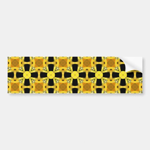 Gustav Klimt The Kiss Pattern Yellow Black Gold Bumper Stickers