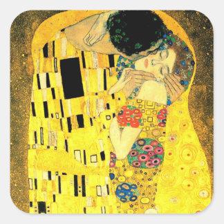 Gustav Klimt -The Kiss  Square Stiker Square Sticker