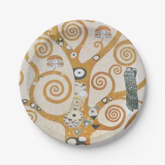 Gustav Klimt The Tree Of Life Art Nouveau Paper Plate