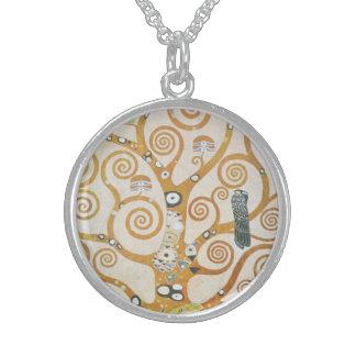 Gustav Klimt The Tree Of Life Art Nouveau Sterling Silver Necklace