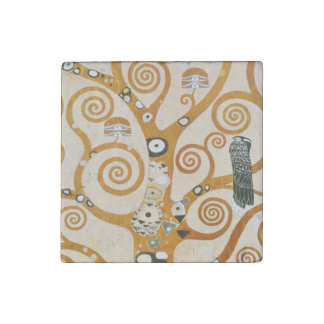 Gustav Klimt The Tree Of Life Art Nouveau Stone Magnet