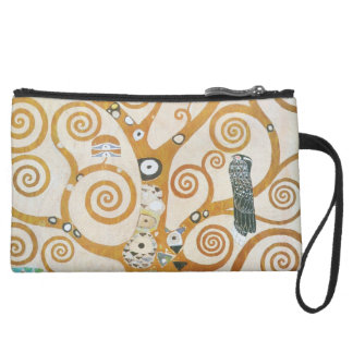 Gustav Klimt The Tree Of Life Art Nouveau Suede Wristlet