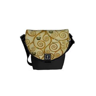 Gustav Klimt The Tree Of Life Vintage Art Nouveau Messenger Bags