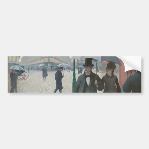 Gustave Caillebotte - Paris Street; Rainy Day Bumper Stickers
