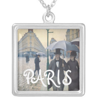 Gustave Caillebotte Paris Street Rainy Day Silver Plated Necklace
