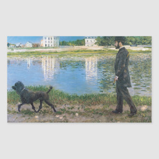 Gustave Caillebotte - Richard Gallo and His Dog Rectangular Sticker