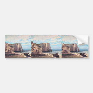 Gustave Courbet- Cliffs at Etretat after the storm Bumper Stickers
