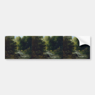 Gustave Courbet- River Landscape Bumper Sticker