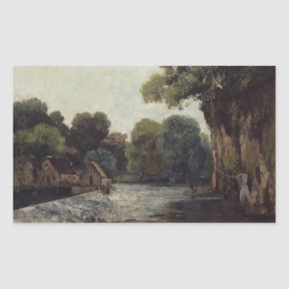 Gustave Courbet - The Weir at the Mill Rectangular Sticker