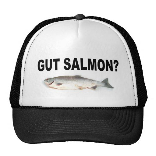 Gut salmon funny fishing t shirts and stickers trucker for Fishing apparel hats
