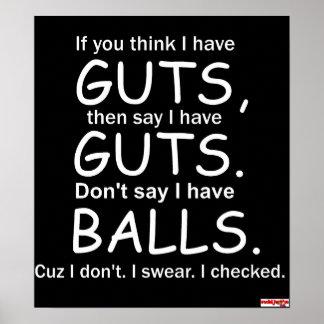 Guts Not Balls Black Poster