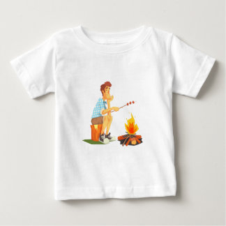 Guy Frying Meat On Camp Bonfire. Cool Colorful Baby T-Shirt