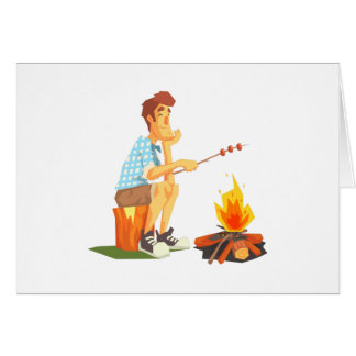 Guy Frying Meat On Camp Bonfire. Cool Colorful Card