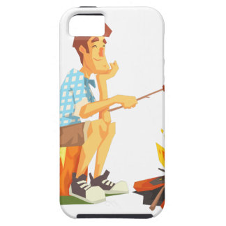 Guy Frying Meat On Camp Bonfire. Cool Colorful Case For The iPhone 5