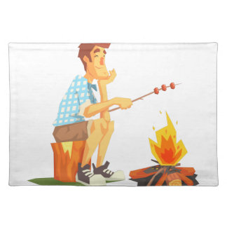 Guy Frying Meat On Camp Bonfire. Cool Colorful Placemat