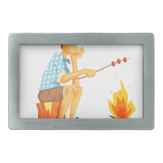 Guy Frying Meat On Camp Bonfire. Cool Colorful Rectangular Belt Buckle