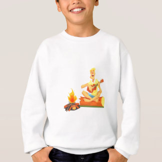 Guy Playing Guitar Sitting On A Log Next Sweatshirt
