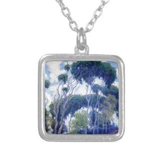Guy Rose - Laguna Eucalyptus - Art Masterpiece Silver Plated Necklace